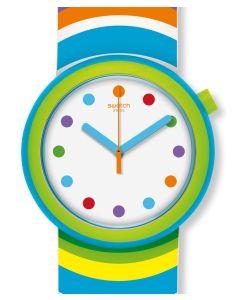 Farbe pur, das ist die neue Pop Swatch POPADELIC. Knallige Farben im bunten Psychodelic-Look, so läßt sich das Design am Besten beschreiben. Am Handgelenk sieht die Uhr einfach genial aus und mit dem Wendearmband können Sie das Design schnell umwandeln. D